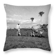 Farmer Plowes Field Throw Pillow
