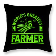 Farmer Shirt Worlds Greatest Farmer Gift Tee Throw Pillow