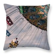 Father And Son On The Swings Throw Pillow