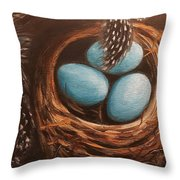 Feathers And Eggs Throw Pillow