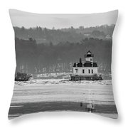 February Morning At Esopus Light Throw Pillow