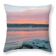 February Sunrise On The Hudson Throw Pillow