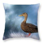 Female Mallard Duck Throw Pillow