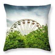 Ferris Wheel Behind Trees Throw Pillow