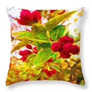 Festive Red Berries On Dancing Green Leaves Throw Pillow