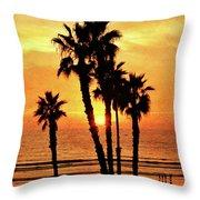 Fiery California Sunset Oceanside Beach Throw Pillow