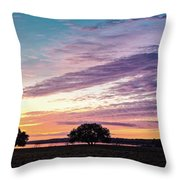 Fiery Sunset Over Canyon Lake - Comal County - Central Texas Hill Country Throw Pillow
