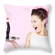 Fifties Style Female Waiter Serving Up Soda Throw Pillow