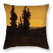 Fir Trees At Sunset Throw Pillow
