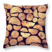 Firewood Logs Throw Pillow