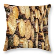 Firewood  Throw Pillow by Nick Bywater