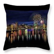 Fireworks And Tillikum Crossing Throw Pillow