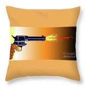 Firing Revolver Throw Pillow