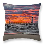 First Day Of Fall Sunset Throw Pillow
