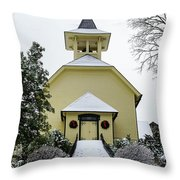 First Presbyterian Church In The Snow Throw Pillow