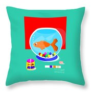 Fish Tank With Fish And Complete Kit Throw Pillow