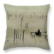 Fisherman In The Mist Throw Pillow