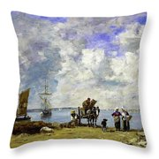 Fishermens Wives At The Seaside - Digital Remastered Edition Throw Pillow
