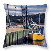 Fishing Boats At Wharf In Marie Joseph Throw Pillow