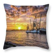 Fishing Boats II Throw Pillow by Tom Singleton