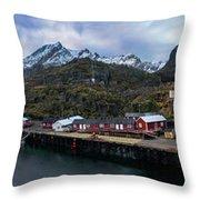 Fishing Village A On Lofoten Throw Pillow
