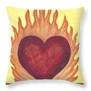 Flaming Heart Throw Pillow
