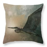 Flight Of The Great Blue Throw Pillow