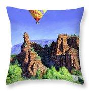 Flight Over Thumb Rock Throw Pillow