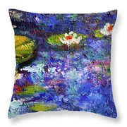 Floating Lilies Oil Painting Throw Pillow by Ginette Callaway