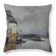 Flood At Port-marly, 1876 04 Throw Pillow
