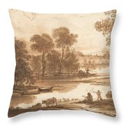 Floodplain With Watering Place  C  Throw Pillow