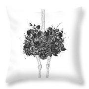 Floral Ostrich Throw Pillow