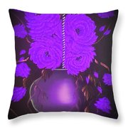Floral Roses With So Much Passion In Purple  Throw Pillow