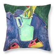 Flowers In A Green Vase On Purple Cloth Throw Pillow