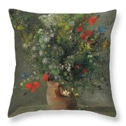 Flowers In A Vase, Circa 1866 Throw Pillow