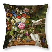 Flowers In A Vase With Two Doves Throw Pillow