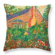Flowery Backyard Throw Pillow