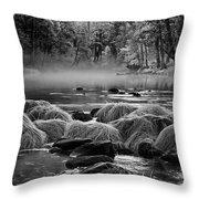 Fog On Yosemite River Throw Pillow