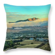 Fog Over Squaw Butte Throw Pillow