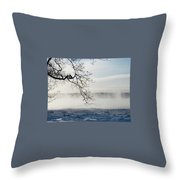 Fog Over The River Throw Pillow