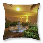 Foggy Fountain And Bridge Throw Pillow by Tom Claud