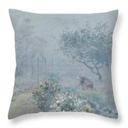 Foggy Morning, Voisins, 1874 Throw Pillow