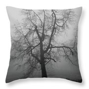 Foggy Tree In Black And White Throw Pillow by William Selander