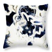 Follow The Blue Rabbit Throw Pillow