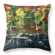 Fond Memories At Tupper Lake Throw Pillow