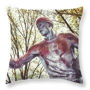 Football Statue - Rutgers University Throw Pillow