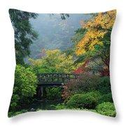 Footbridge In Japanese Garden Throw Pillow