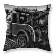 Ford F4 Tow The Truck Business End Black And White Throw Pillow