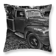 Ford F4 Tow The Truck Hook And Book Black And White Throw Pillow
