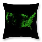 Forest Cover Map Of The Us Throw Pillow